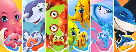 Fish and sea animals. Shark, octopus, jellyfish, crab, narwhal. Cartoon character 3d vector icon set 일러스트