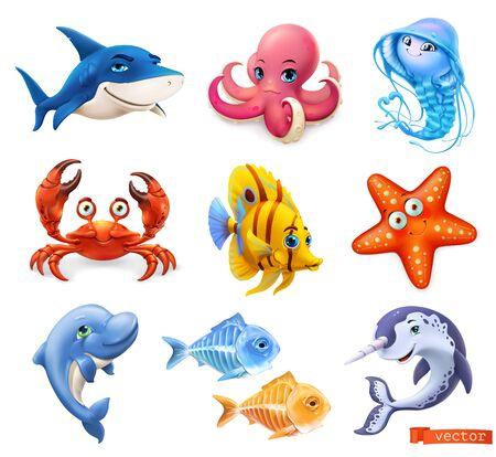 Fish and sea animals. Shark, octopus, jellyfish, crab, starfish, dolphin, narwhal. Cartoon character 3d vector icon set 일러스트