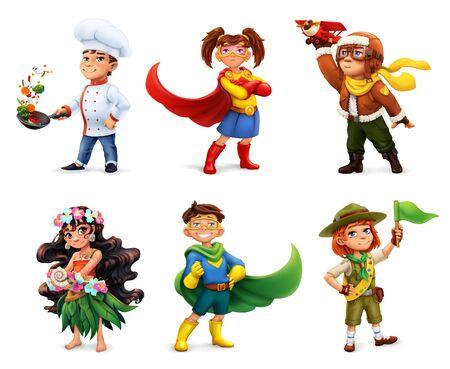 Little children in costumes. Superheroes, cook, pilot, scout. Comic character, 3d vector icon set 일러스트