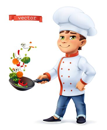 Little Cook. Comic character, vector illustration