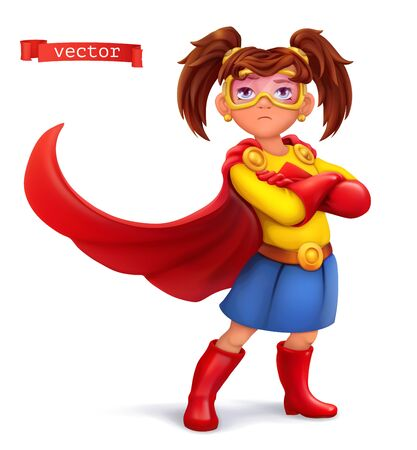 Little girl in superhero costume with red coats. Comic character, vector illustration 일러스트