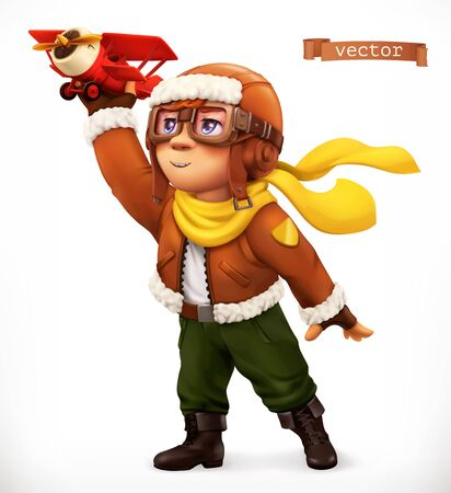 Little pilot with toy airplane. Comic character, 3d vector illustration 일러스트