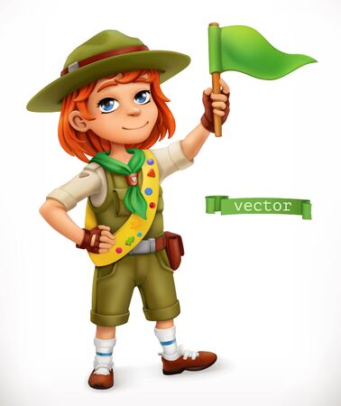 Little scout with green flag. Comic character, 3d vector illustration