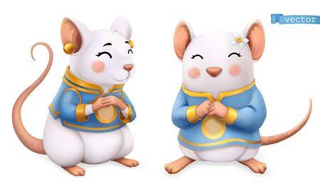 Rat, mouse, Funny animal in the Chinese zodiac on white Ilustração