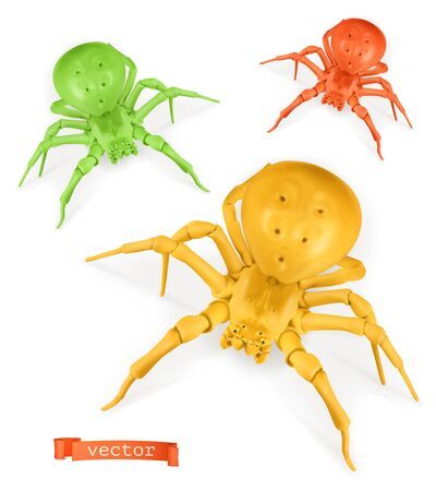 Red, yellow and green spiders on white