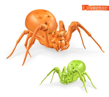 Halloween, orange and green spiders on white