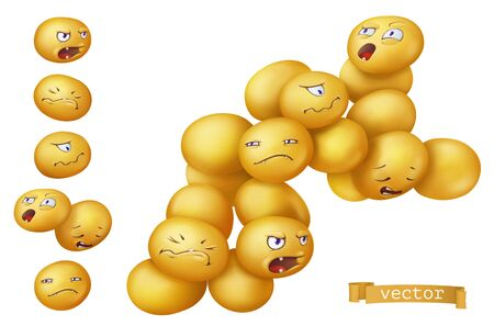 Staphylococcus aureus bacteria, virus. Funny monster, cartoon character. 3d vector icon