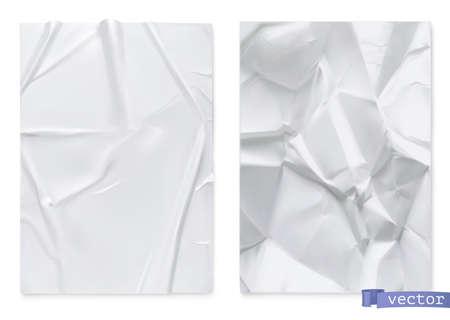 Crumpled sheet of paper. 3d realistic vector texture Ilustração