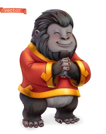 Monkey, gorilla. Funny animal in the Chinese zodiac, Chinese calendar, 3d vector icon