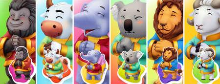 Funny animals. Gorilla, bull, elephant, koala, lion, ram. 3d vector background Ilustração
