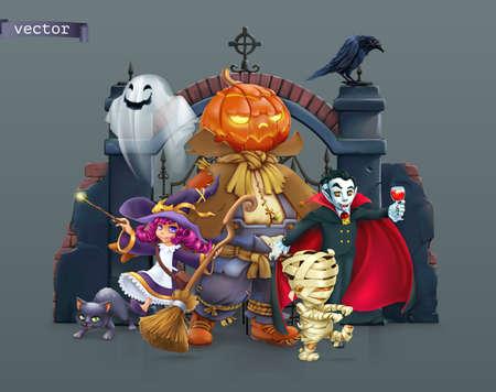 Happy Halloween. Pumpkin scarecrow, witch, mummy, vampire. 3d vector illustration