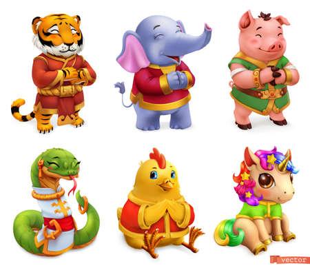 Funny animals. Tiger, elephant, pig, snake, chicken, unicorn. 3d vector icon set