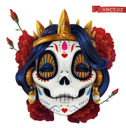 Day of the dead. Dia de los muertos. Skull woman
