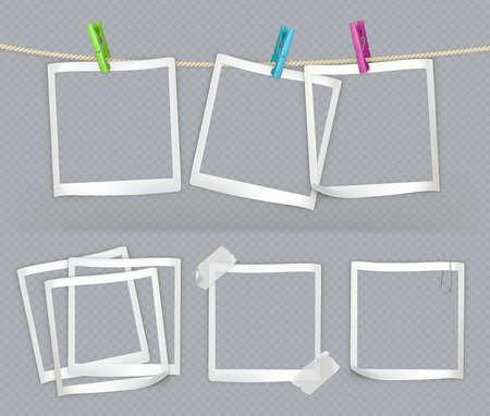 Paper frames with transparency. 3d vector realistic set Ilustração