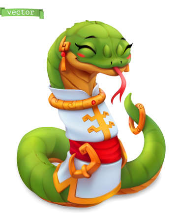 Snake. Funny animal in the Chinese zodiac, Chinese calendar, 3d vector icon