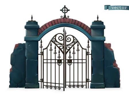 Gates to the cemetery. Happy Halloween. 3d vector cartoon object