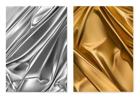 Silver and gold texture. Foil, fabric. 3d vector realistic background Ilustração