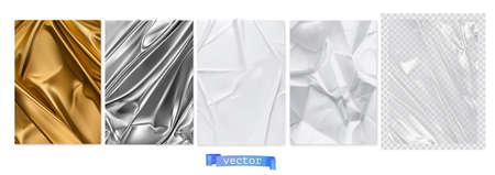 Gold fabric, silver foil, white paper, transparent plastic film. 3d realistic textures, vector set Ilustração
