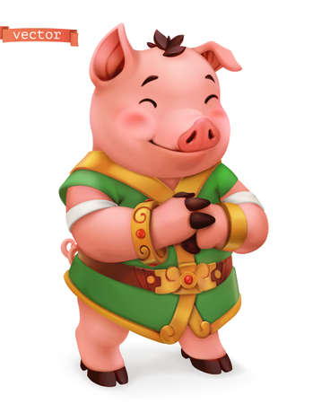 Pig. Funny animal in the Chinese zodiac, Chinese calendar, 3d vector icon Ilustração