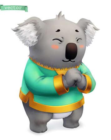 Koala, funny animal. 3d vector icon
