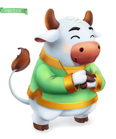 Ox, bull. Funny animal in the Chinese zodiac, Chinese calendar, 3d vector icon