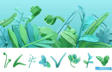 Blue and green spring grass. Cartoon. 3d vector icon set