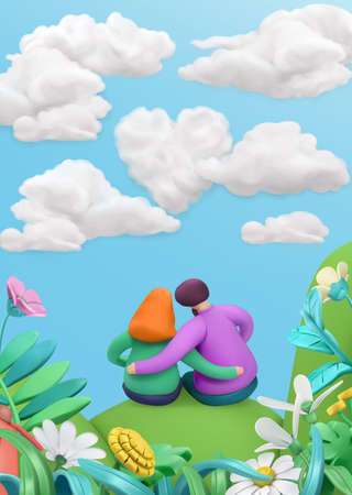 Spring story, heart in clouds. Fall in love, young couple on a flower meadow. 3d vector greeting card