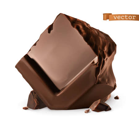 Chocolate pieces. 3d realistic vector icon