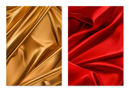 Gold and red textures. Foil, fabric. 3d vector realistic background