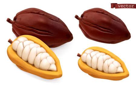 Cocoa pods. 3d realistic vector