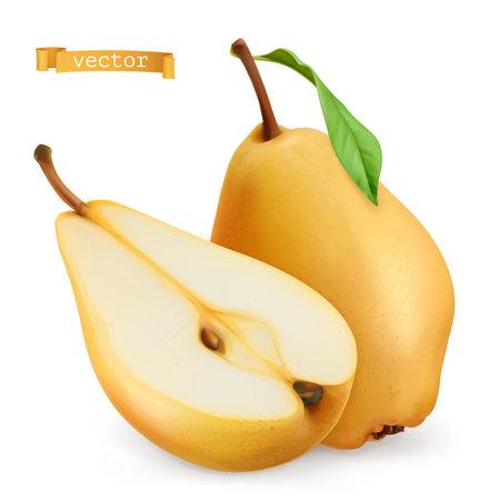 Pear. Sweet fruit. 3d realistic vector icon Ilustração