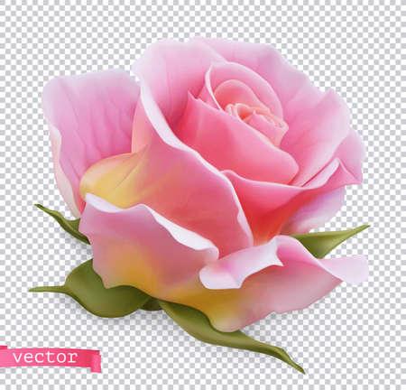 Pink rose 3d realistic vector object Ilustração