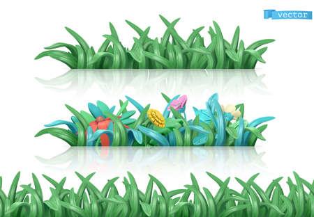 Grass and flowers. Cartoon 3d vector seamless pattern