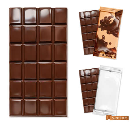 Chocolate bar and chocolate packaging. 3d realistic vector icon