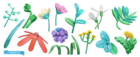 Spring grass and flowers. Cartoon. 3d vector icon set