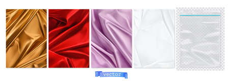 Gold and red fabric, violet curtain, white paper, transparent plastic package. 3d vector realistic backgrounds