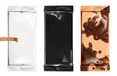 Chocolate Packaging. 3d vector mockup Ilustração