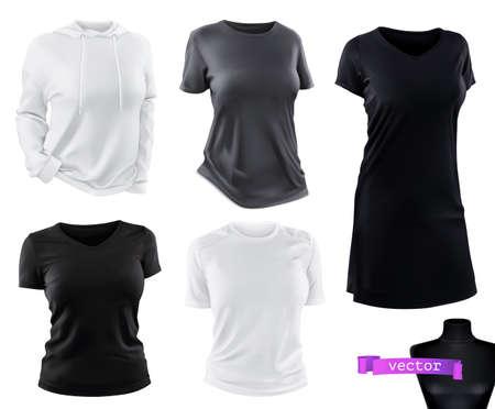 Clothing. T-shirts, hoodie, dress mockup. 3d realistic vector set Ilustração