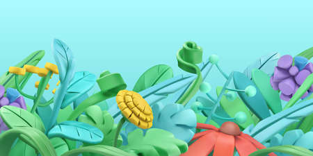 Spring grass and flowers. Cartoon. 3d vector background