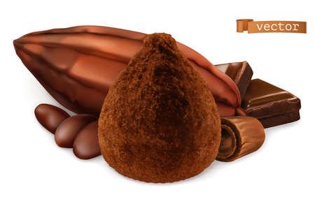 Cocoa, Chocolate Truffle. 3d realistic vector Ilustração