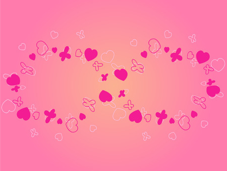endlessness: A symbol of endlessness made of pink hearts and butterflies vector picture Illustration