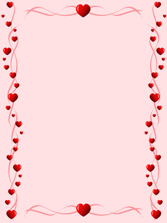 pink backrgound with ornament made of hearts