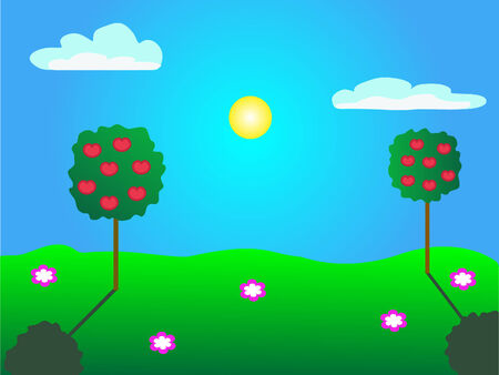 Summer landscape with apple tree vector picture Stock Vector - 6308173