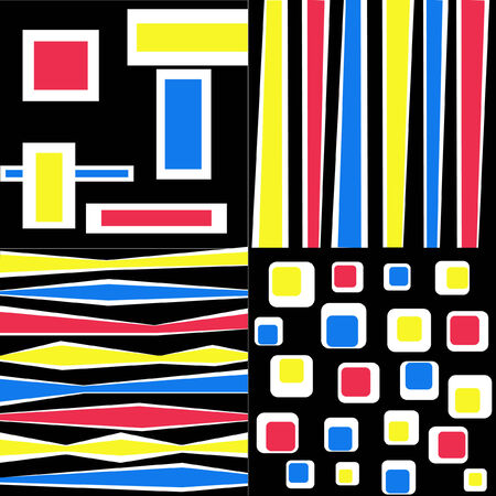different color stripes and geometric objects on the black background Illustration