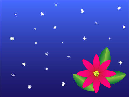 Poinsettia flower on a blue background with snowflakes Stock Vector - 6344879