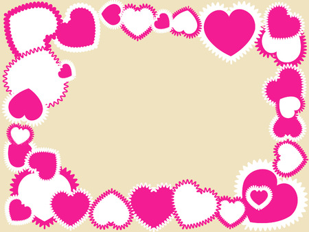 Frame made of pink hearts on a beige background Vector