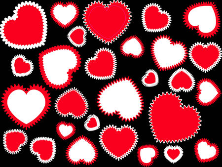Red and white hearts on the black background