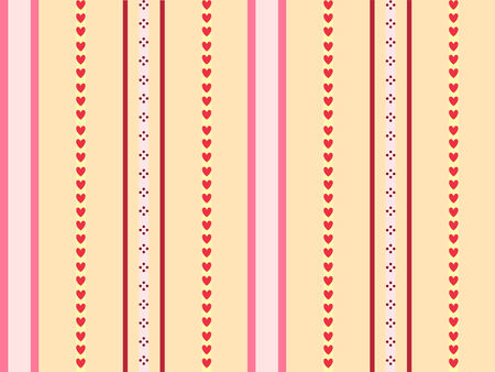 seamless background made of stripes and hearts of warm colors