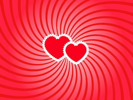 twirled: two white bordered hearts on the twirled background