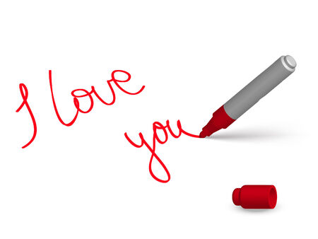 pen and marker: red marker and English phrase «I love you» on the white background Illustration